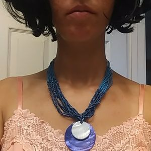 Blue Purple Shell Necklace